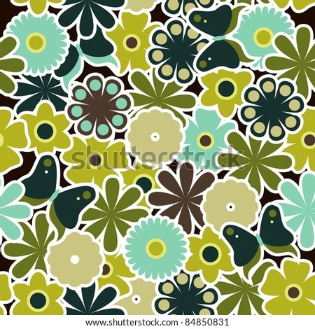 flowers seamless pattern - stock vector