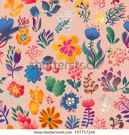Flowers seamless pattern decorative vector card illustration - stock vector