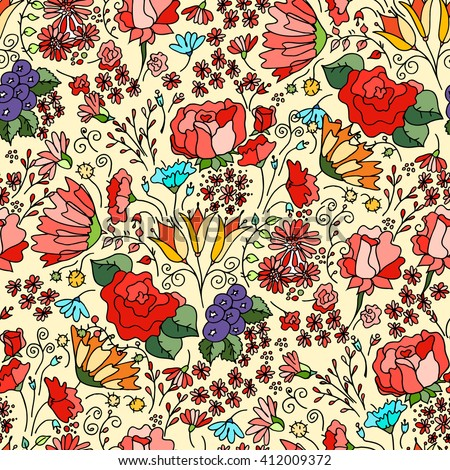 Flowers seamless pattern decorative vector card illustration Doodle funny plants