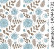 Flowers seamless pattern. Hand drawn floral texture - stock vector