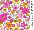 Flowers Seamless Pattern Psychedelic Groovy Floral Flower Power Notebook Doodle Design- Hand-Drawn Vector Illustration Background - stock vector