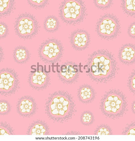 Flowers seamless texture on pastel background. Vector backdrop. Use for wallpaper, pattern fills, web page background.