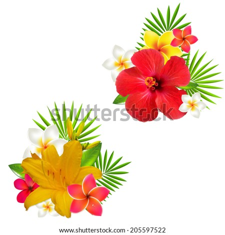 Flowers Set, With Gradient Mesh, Vector Illustration - stock vector