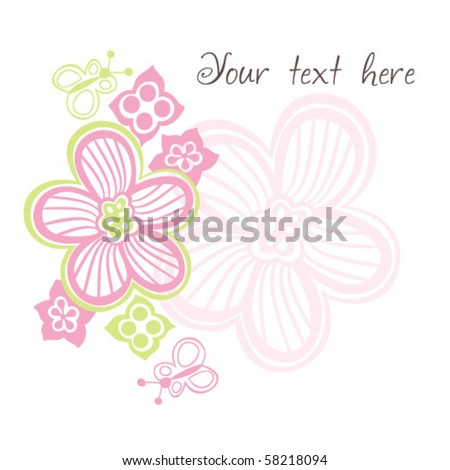 flowers template card - stock vector