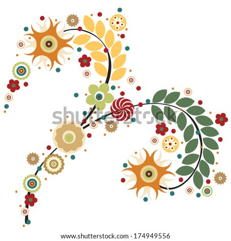 Flowers vector, traditional branch of floral blooming. Designs can be use for fashion, mass print production, advertising, web and other various applications.