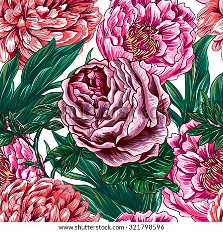 Flowers, vintage roses, peonies. Beautiful seamless vector floral pattern background - stock vector