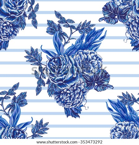 Flowers, vintage roses, peonies, leaves, bouquets. Beautiful seamless vector floral pattern background. Abstract striped geometric texture - stock vector
