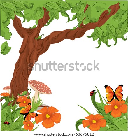 Flowers with Tree - stock vector