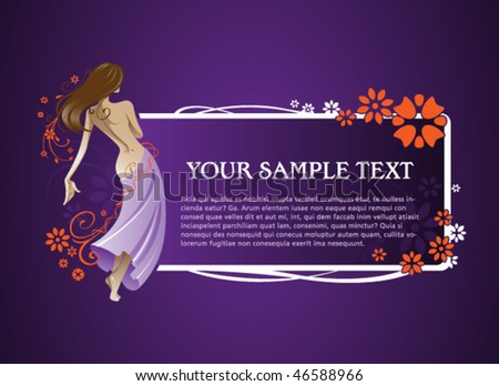 Flowers woman frame - stock vector