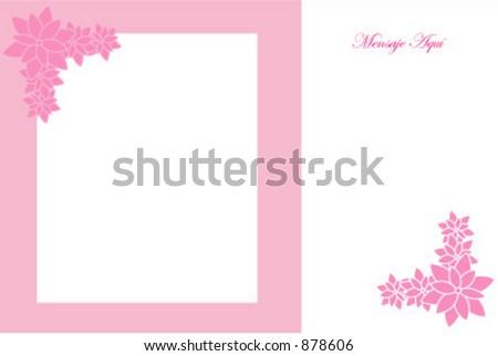 Flowery photo card - stock vector