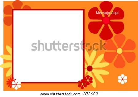 Flowery photo frame - stock vector