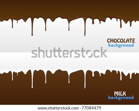 Flowing chocolate and milk drops - stock vector