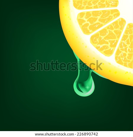 Flowing down drop on a lemon segment. Vector background - stock vector