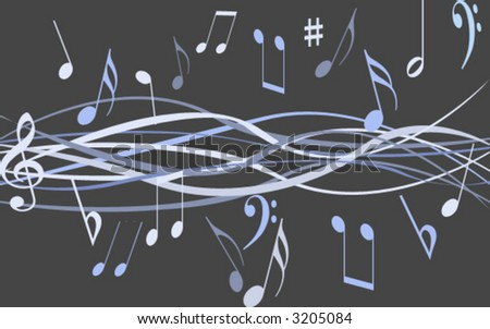 Flowing music - stock vector