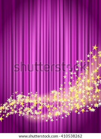 flowing stars with glitter over pink curtains background - stock vector