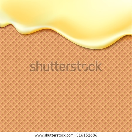 Flowing yellow glaze on wafer texture sweet food vector background abstract. Melt icing ice cream on waffle seamless pattern. Editable - Easy change colors.
