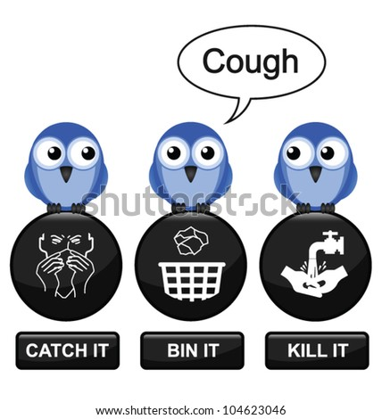 Flu prevention message isolated on white background - stock vector