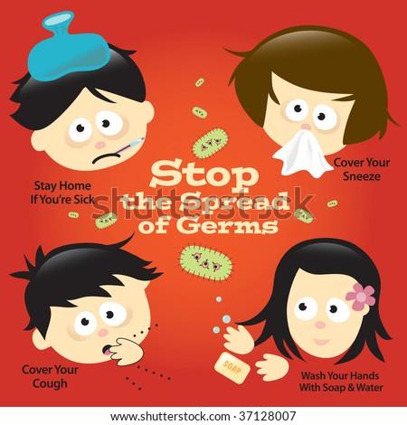 Flu Prevention Poster/Sign - stock vector