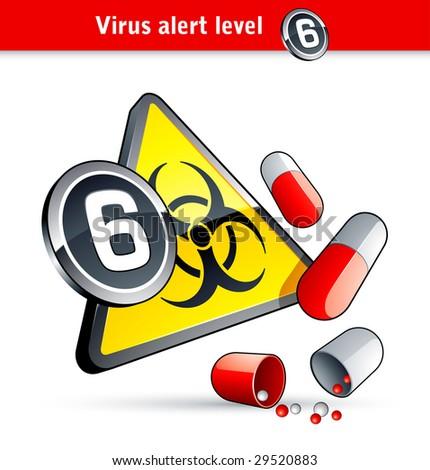 Flu Virus alert number six - stock vector