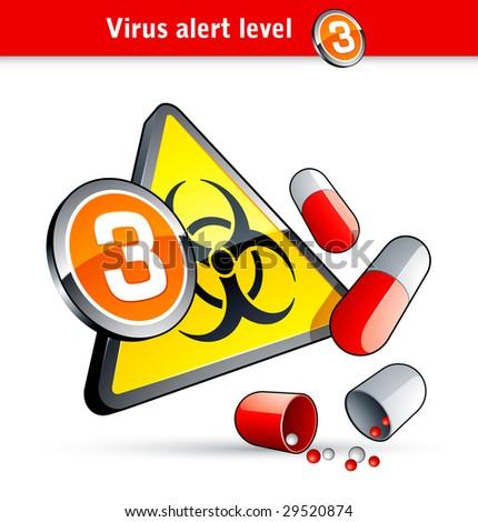 Flu Virus alert number three - stock vector