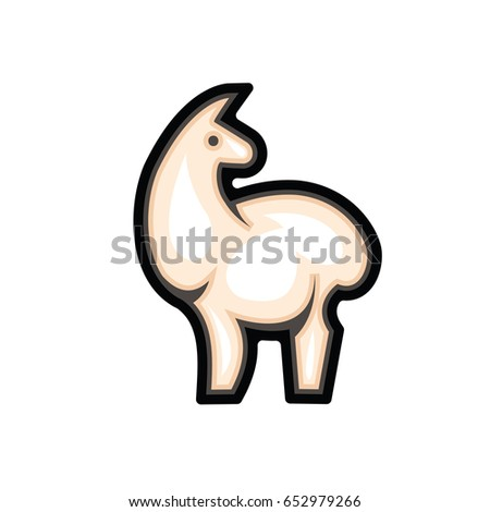 Fluffy and gentle light alpaca - color stylized drawing of standing cute beige alpaca