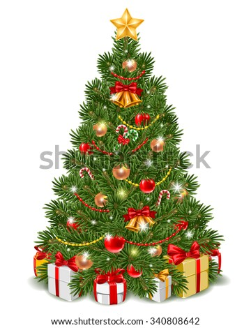 Fluffy Christmas tree decorated by christmas balls, jingle bells and candy cane. Gift boxes are under the fir-tree. Isolated on white background. Vector illustration. - stock vector