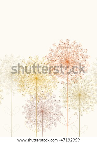 Fluffy colored flowers.This image tiles seamlessly horizontally. - stock vector
