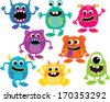 Fluffy Monsters - stock vector