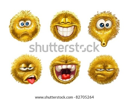 fluffy smiles Emotion Faces on white - stock vector