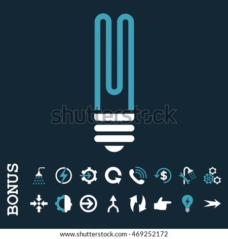 Fluorescent Bulb vector bicolor icon. Image style is a flat pictogram symbol, blue and white colors, dark blue background.