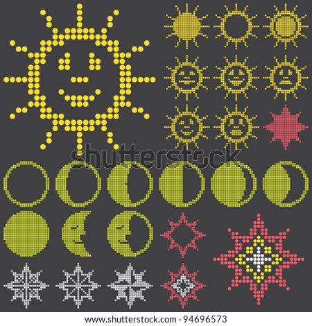 fluorescent dot-based astronomical icons and symbols set with sun. moon and stars for control screens and web design. more icons are available. vector illustration - stock vector