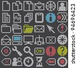fluorescent dot-based icons and signs big set for control screens and web design. more icons are available. vector illustration - stock photo
