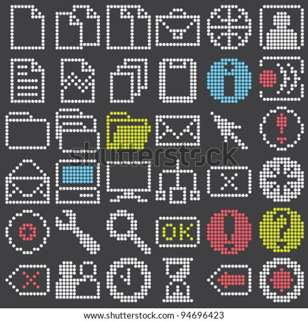 fluorescent dot-based icons and signs big set for control screens and web design. more icons are available. vector illustration - stock vector