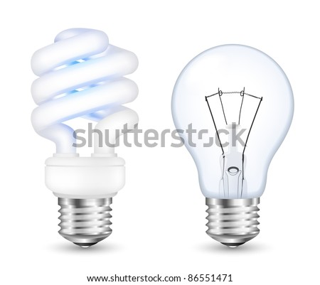 Fluorescent energy saving and incandescent light bulbs. Vector - stock vector