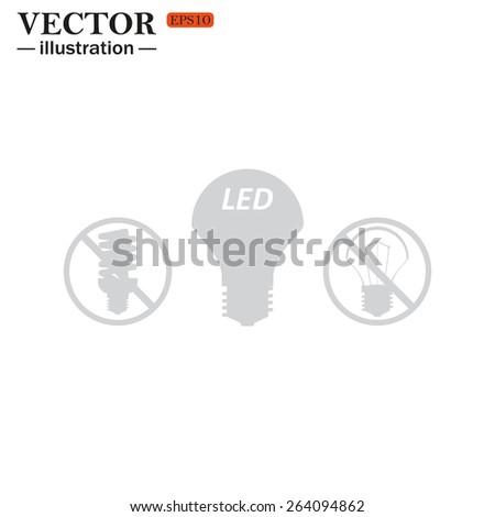 fluorescent lamp, LED lamp, incandescent bulb. new icon. vector design - stock vector