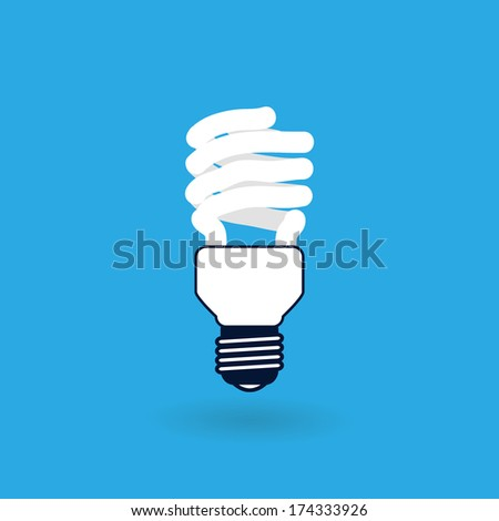 Fluorescent Light Bulb Icon Isolated on Blue Background