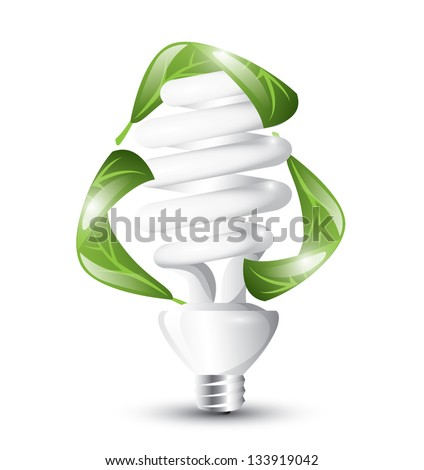 Fluorescent Light Bulb With Recycle Concept Eps 10 Isolated Stock Vector