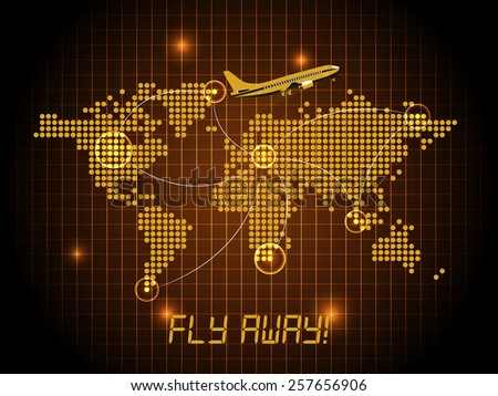 Fly away map - orange design - stock vector