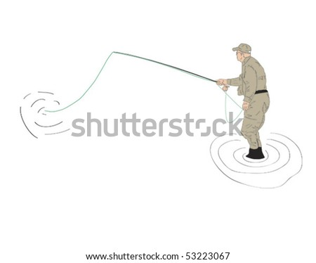 Fly fisherman with rod and reel - stock vector