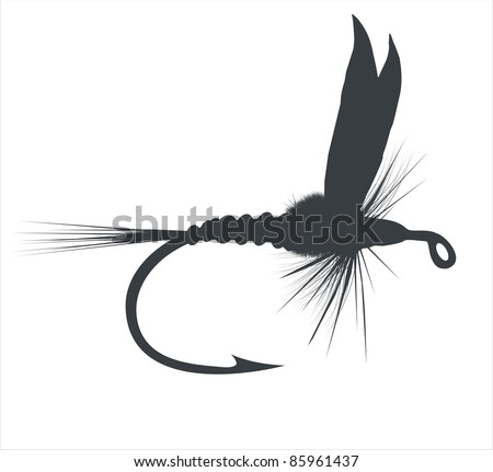 Fly-fishing on white background - stock vector