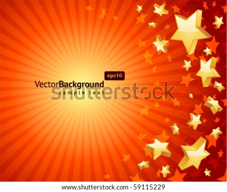 Fly gold stars vector background background - stock vector