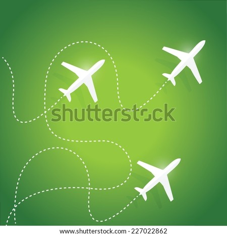 fly routes and airplanes. illustration design over a green background - stock vector
