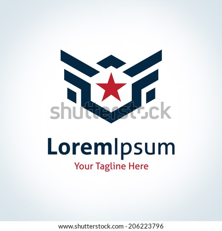 Fly star wings logo professional business strength icon logotype - stock vector