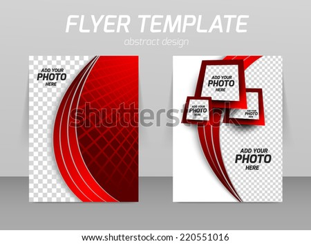 Flyer back and front design template in red color - stock vector