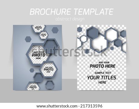 Flyer back and front template design with gray hexagons - stock vector