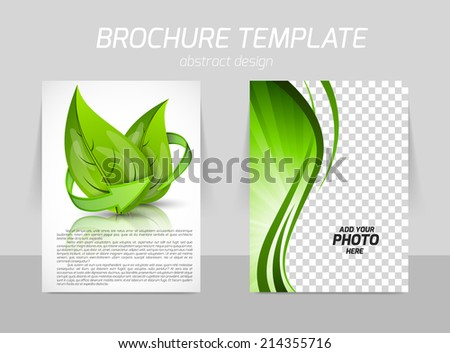 Flyer back and front template design with leaves in green color - stock vector