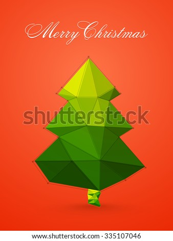 Flyer, Banner or Pamphlet with creative origami Xmas Tree for Merry Christmas celebration.
