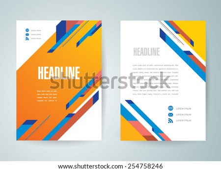 flyer brochure design template abstract stripes colorful A4 size - stock vector