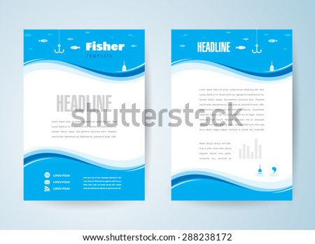 flyer brochure design template background fisher - stock vector