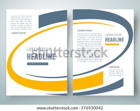 flyer brochure design template curves, size a4 - stock vector